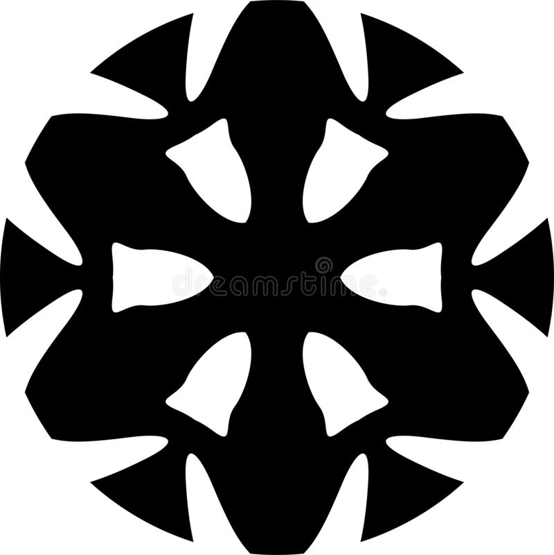 Progettazione geometrica della ruota di vettore della mandala in bianco e nero dell'estratto illustrazione vettoriale
