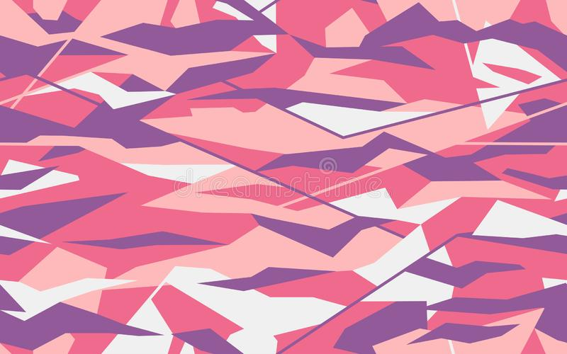 Progettazione geometrica di camo nel rosa tenero e nei colori porpora Modello del cammuffamento fatto nella forma triangolare Tex illustrazione vettoriale