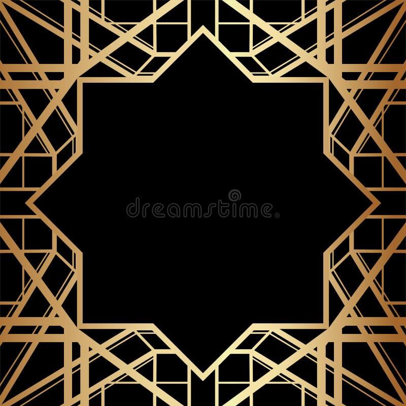 Progettazione geometrica di Gatsby Art Deco Style Border Frame illustrazione di stock