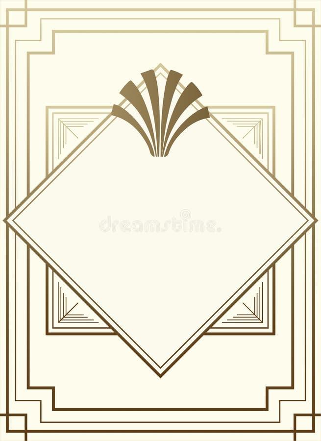 Progettazione geometrica di Gatsby Art Deco Style Frame Background illustrazione di stock
