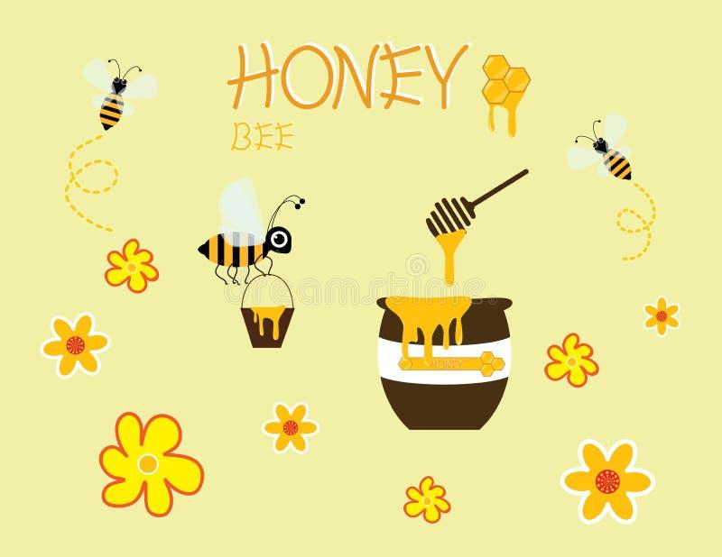 Progettazione gialla felice dell'icona del fiore di vettore del barattolo del fumetto dell'ape del miele illustrazione vettoriale