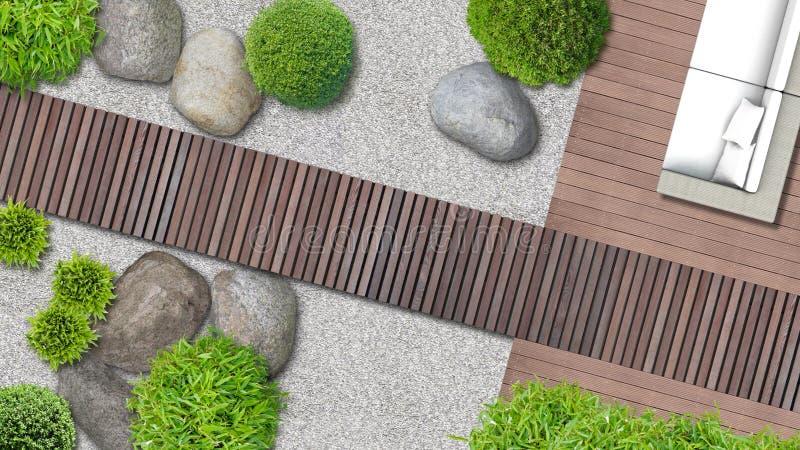 Progettazione giapponese moderna del giardino nella vista superiore illustrazione vettoriale