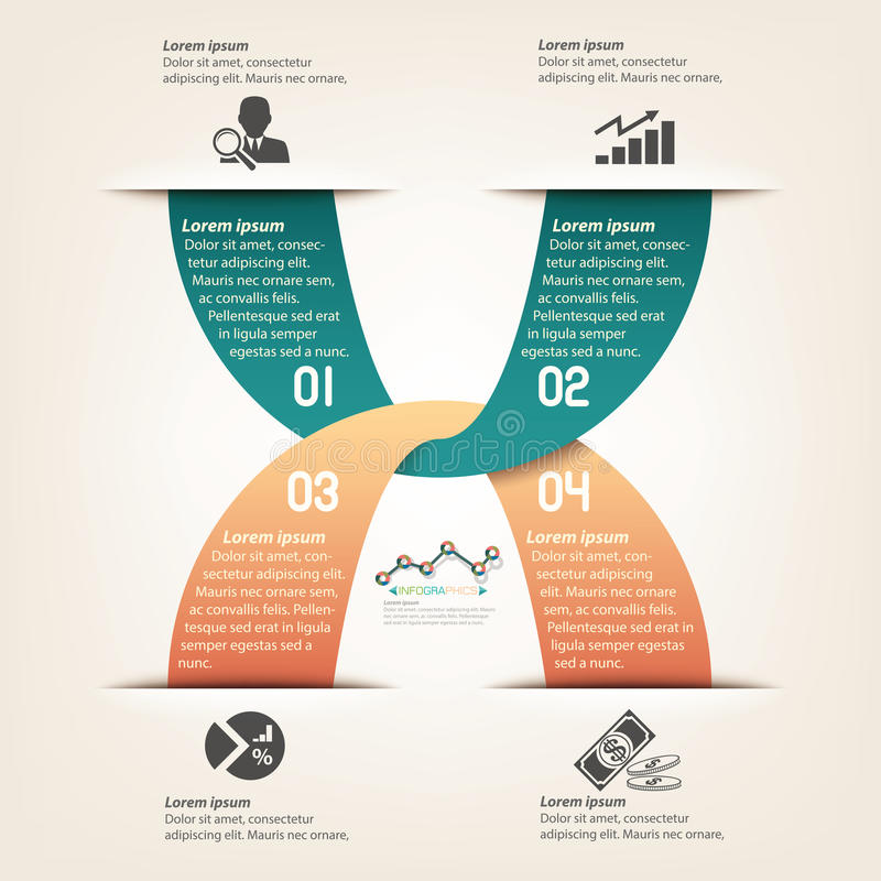 Progettazione grafica del modello di informazioni di affari illustrazione di stock