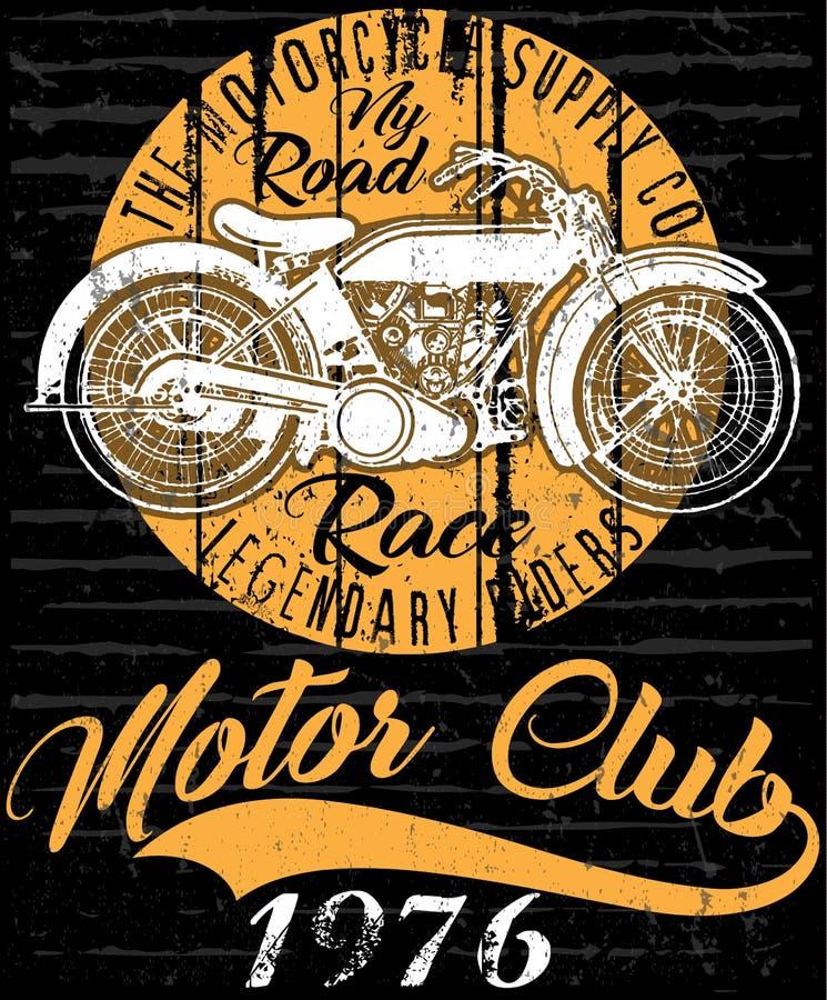 Progettazione grafica del motociclo della maglietta d'annata del manifesto royalty illustrazione gratis