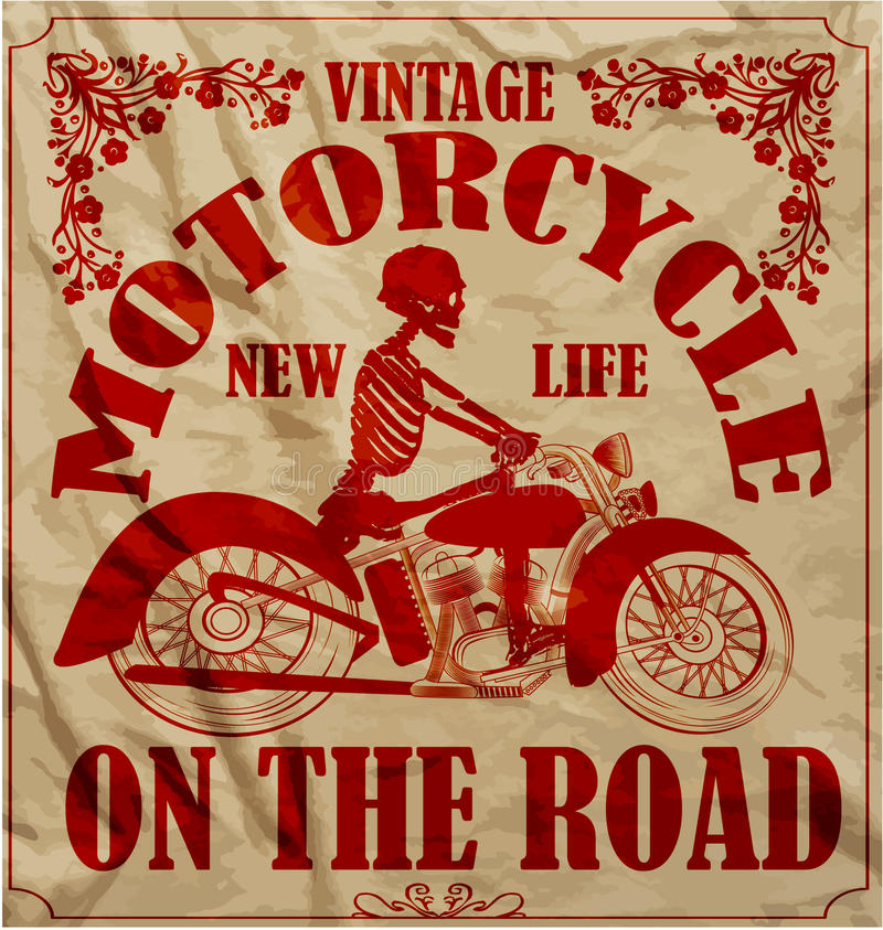 Progettazione grafica della corsa del motociclo della retro maglietta d'annata dell'uomo illustrazione di stock