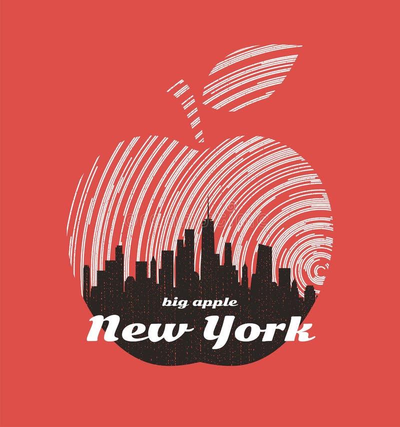 Progettazione grafica della grande maglietta della mela di New York con l'orizzonte della città illustrazione vettoriale