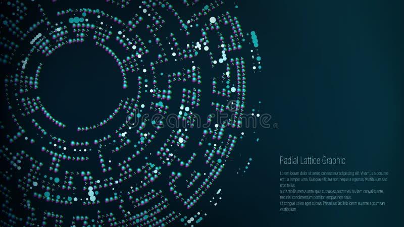 Progettazione grafica della grata radiale Priorità bassa astratta di vettore Imbuto, buco nero royalty illustrazione gratis
