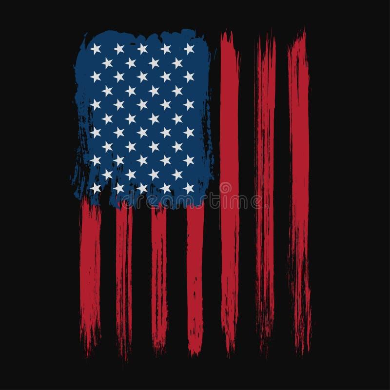 Progettazione grafica della maglietta con struttura di lerciume e della bandiera americana Progettazione della camicia di tipogra illustrazione vettoriale