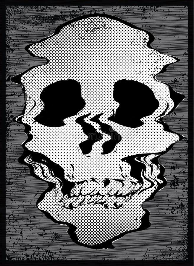 Progettazione grafica della maglietta del cranio illustrazione di stock