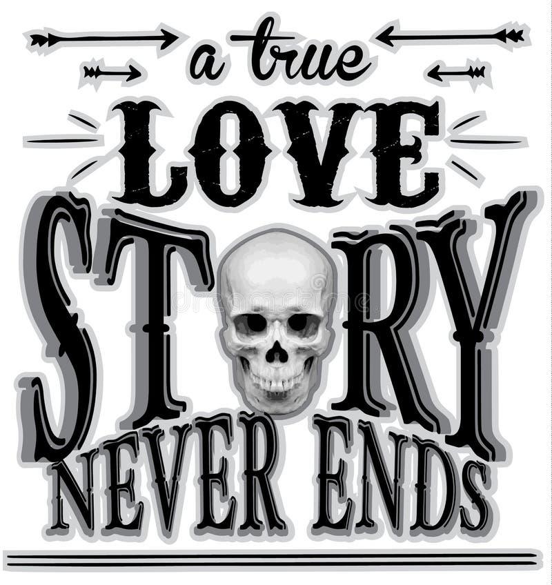 Progettazione grafica della maglietta del cranio di tipografia illustrazione di stock