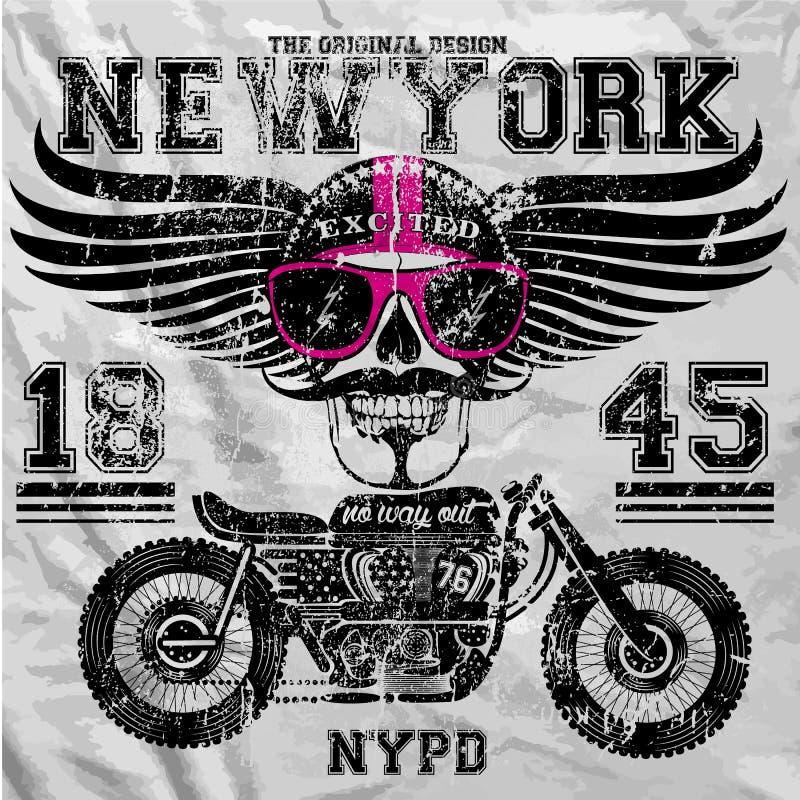 Progettazione grafica della maglietta dell'uomo di divertimento di New York del cranio del motociclo royalty illustrazione gratis