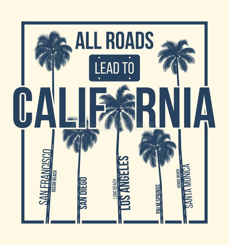 Progettazione grafica della maglietta di California con le palme Stampa della maglietta, tipografia, etichetta, distintivo, emble illustrazione vettoriale