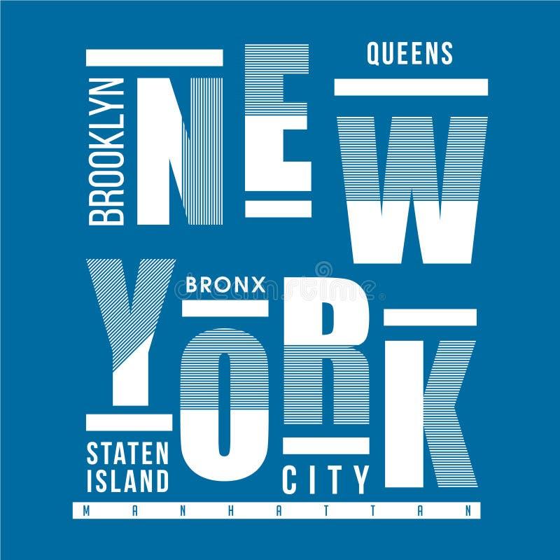 PROGETTAZIONE GRAFICA DELLA MAGLIETTA DI TIPOGRAFIA DI NEW YORK illustrazione vettoriale
