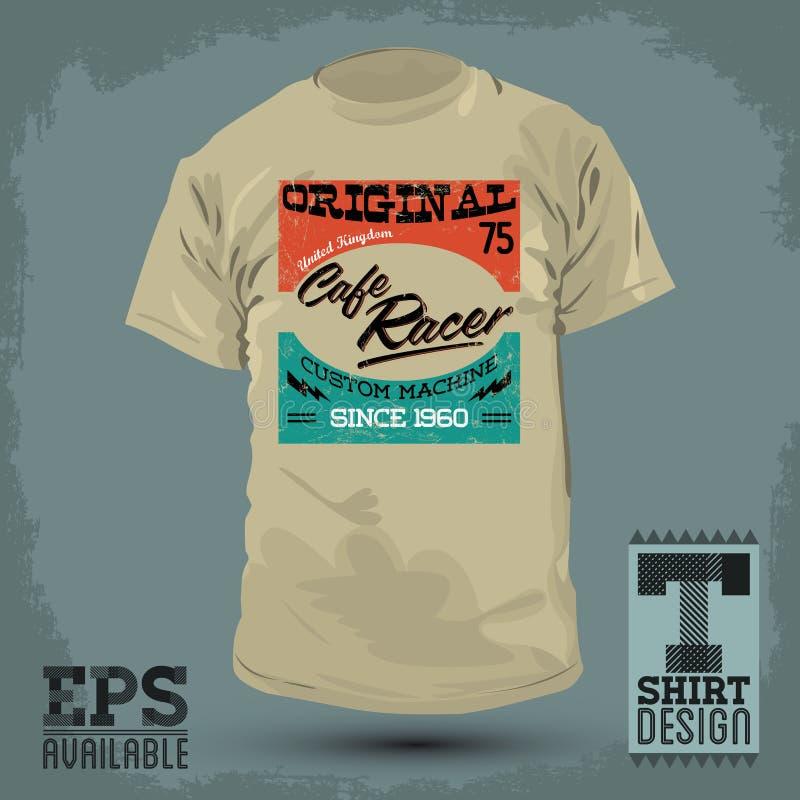 Progettazione grafica della maglietta - emblema di vettore del corridore del caffè illustrazione vettoriale