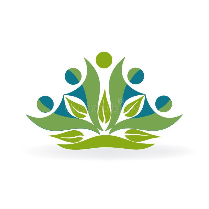 Progettazione grafica della natura di verde di lavoro di squadra di logo della gente di ecologia di affari dell'icona di vettore  illustrazione di stock