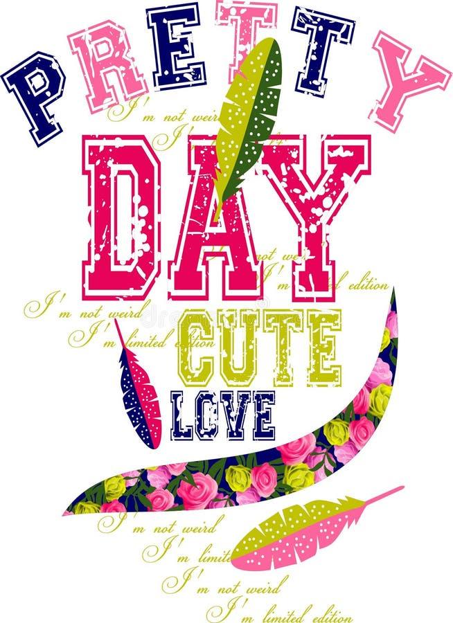 Progettazione grafica di amore sveglio grazioso di giorno per le magliette illustrazione di stock