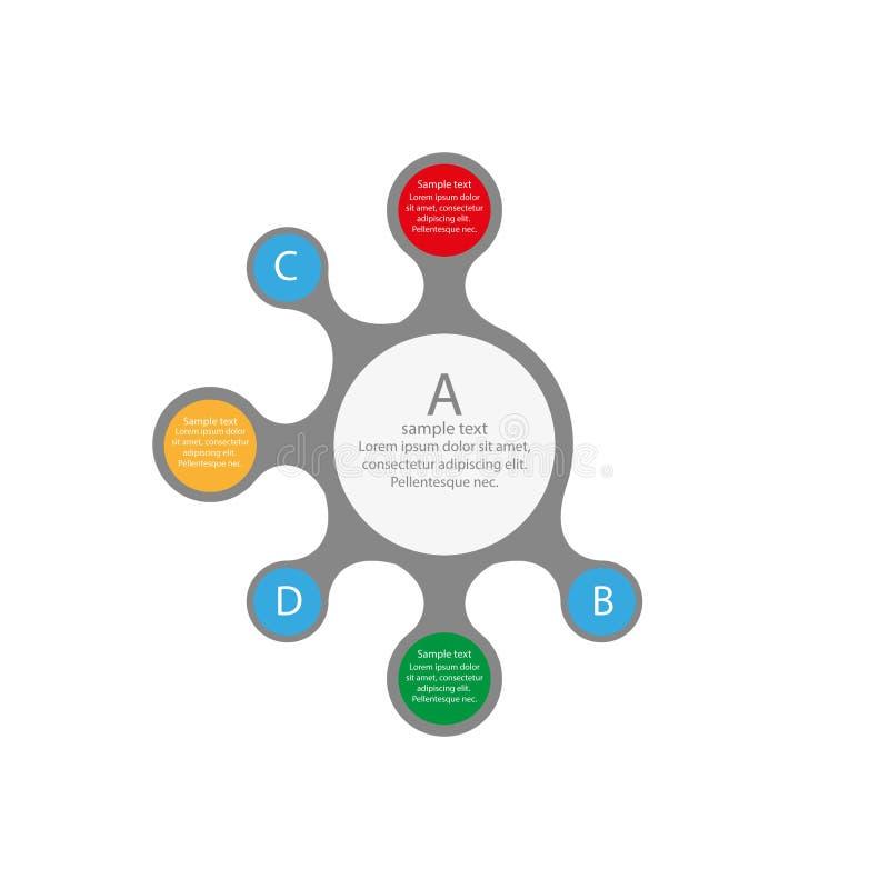 Progettazione grafica di informazioni con i cerchi colorati immagine stock