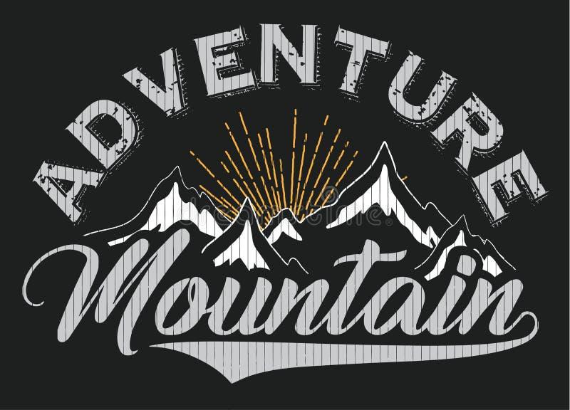 Progettazione grafica di inverno del manifesto della maglietta della montagna illustrazione di stock