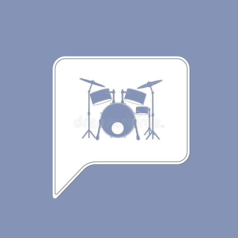 Progettazione grafica di musica del batterista dell'icona stabilita dello strumento royalty illustrazione gratis
