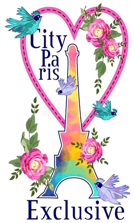 Progettazione grafica di Parigi della città per la maglietta ENV illustrazione di stock