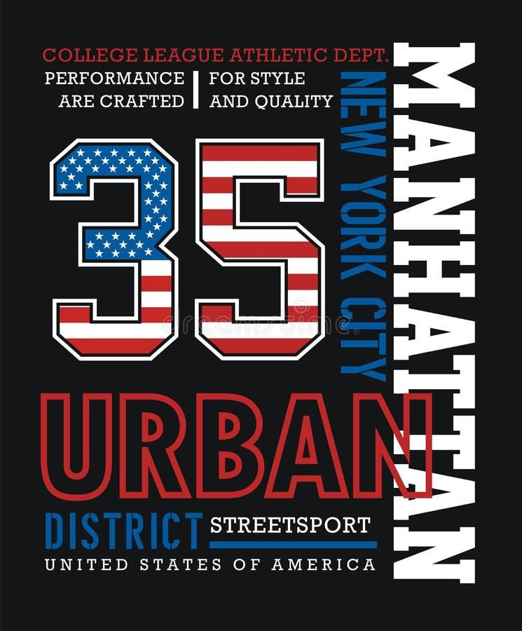 Progettazione grafica di tipografia della maglietta di AthleticManhattan royalty illustrazione gratis