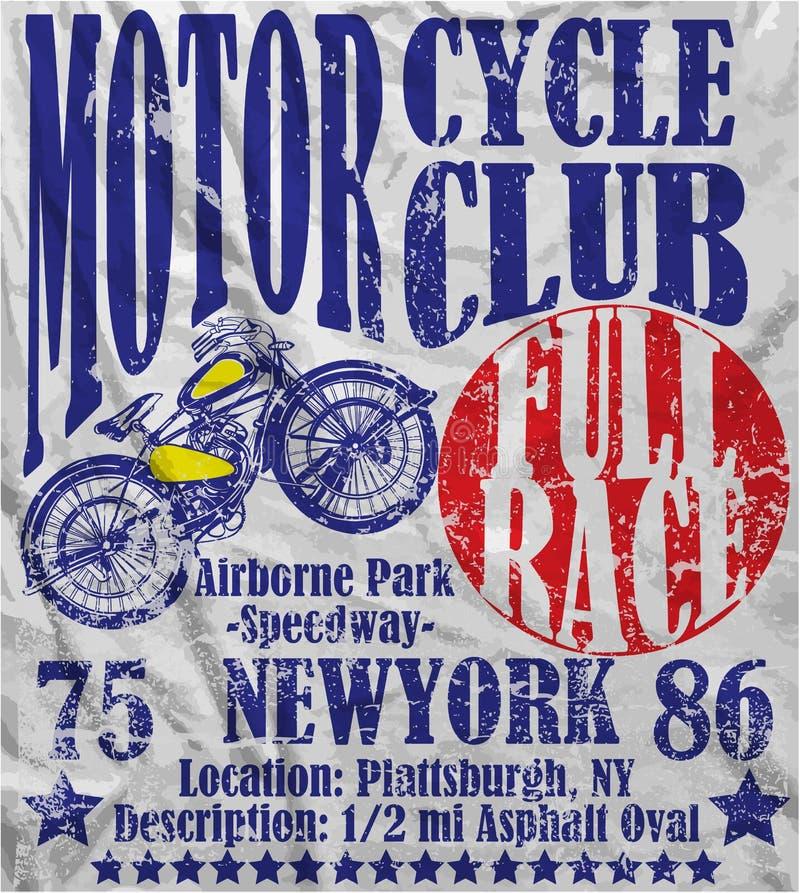 Progettazione grafica di vettore dell'uomo del manifesto della corsa del club del motociclo royalty illustrazione gratis