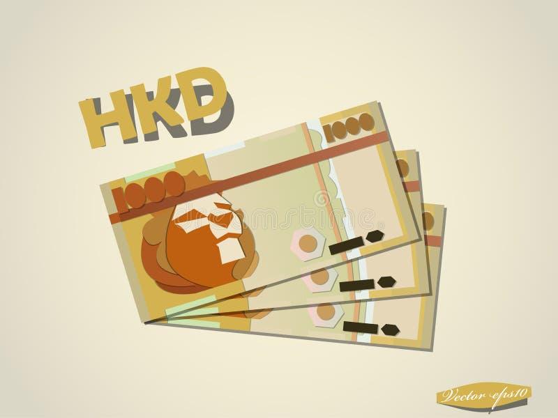 Progettazione grafica minima di vettore della carta dei soldi del dollaro di Hong Kong illustrazione vettoriale