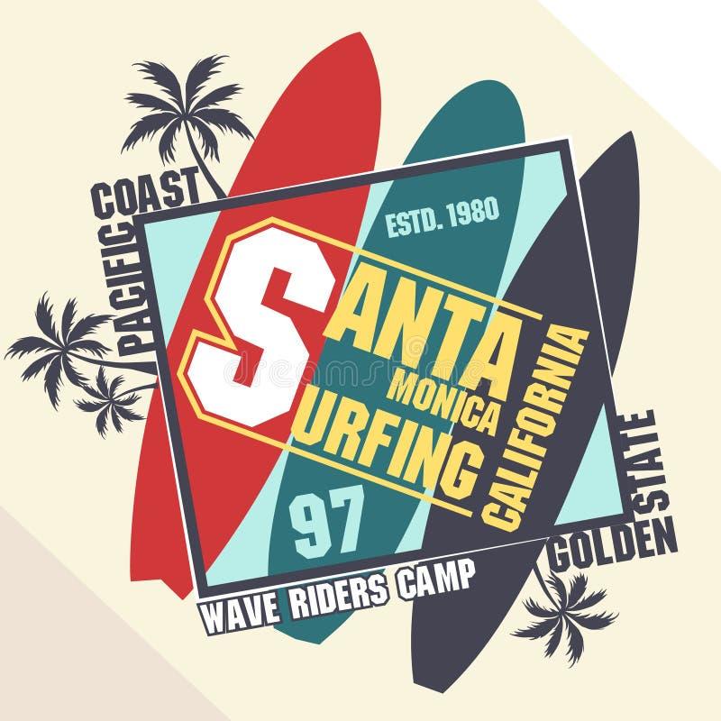 Progettazione grafica praticante il surfing della maglietta illustrazione vettoriale