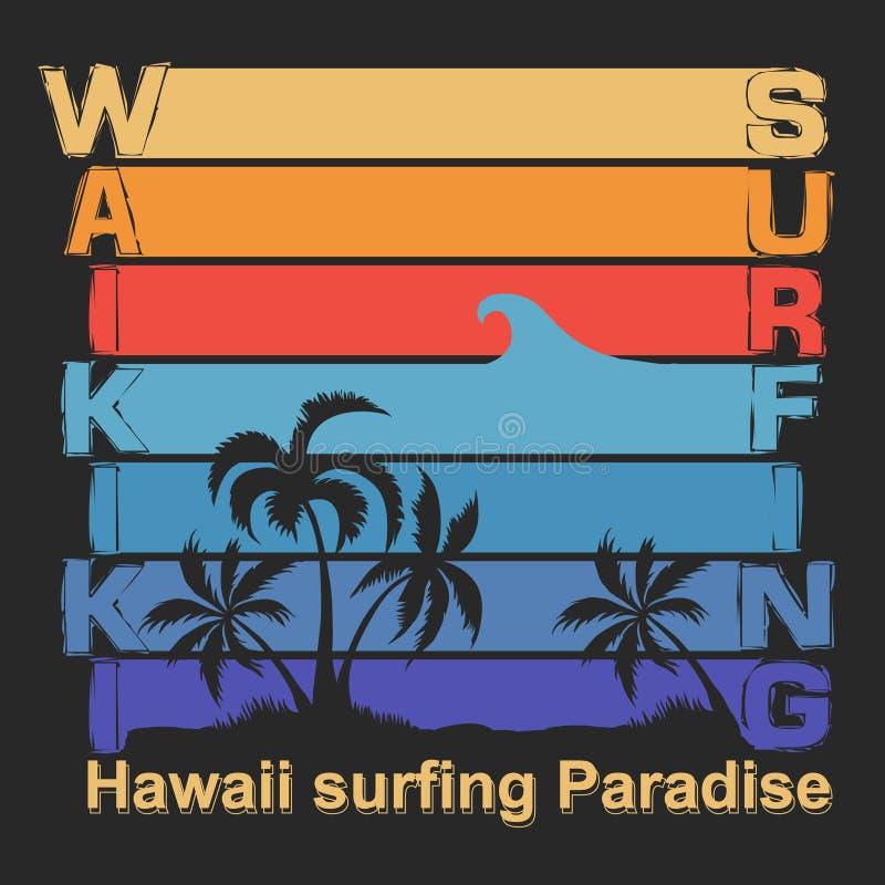 Progettazione grafica praticante il surfing della maglietta Spiaggia di Waikiki illustrazione vettoriale