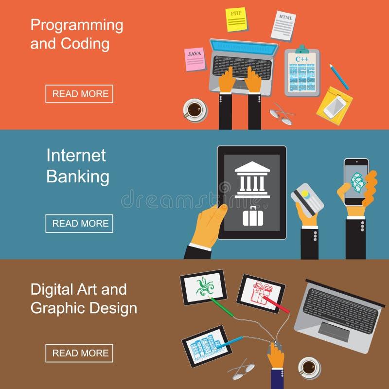 Progettazione grafica, sito Web che si sviluppa, programmando, arte digitale, codifica, attività bancarie di Internet Illustrazio illustrazione vettoriale
