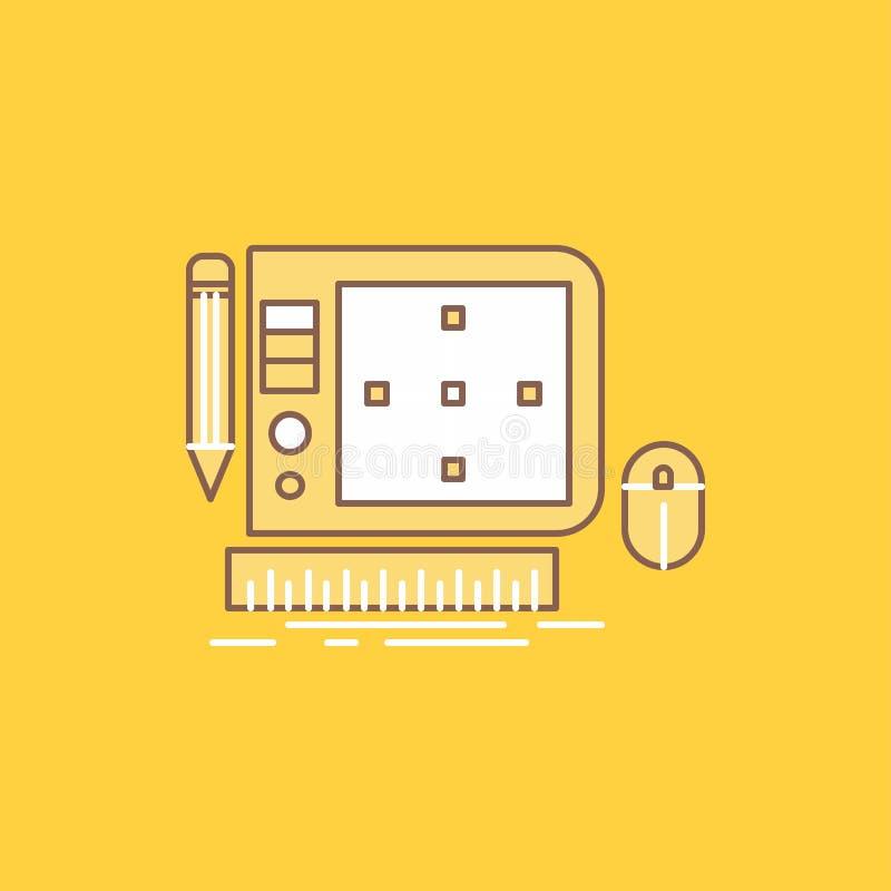 progettazione, grafico, strumento, software, linea piana icona riempita di progettazione di web Bello bottone di logo sopra fondo illustrazione vettoriale