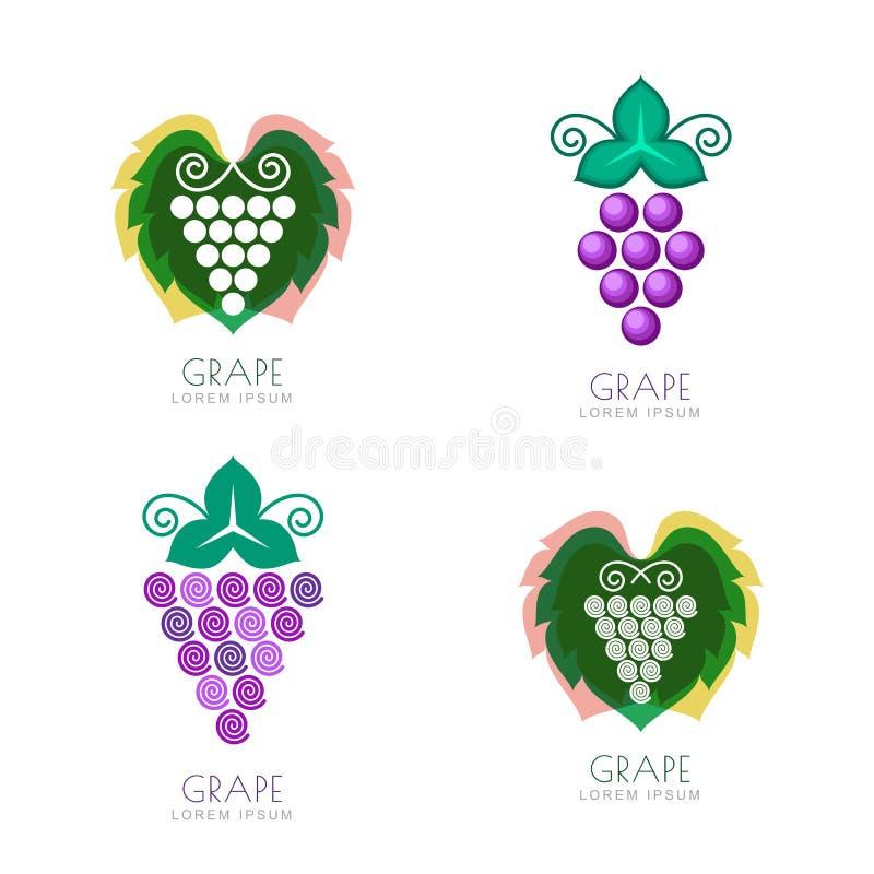 Progettazione grave di logo della foglia dello spazio negativo Concetto per la cantina, vino royalty illustrazione gratis