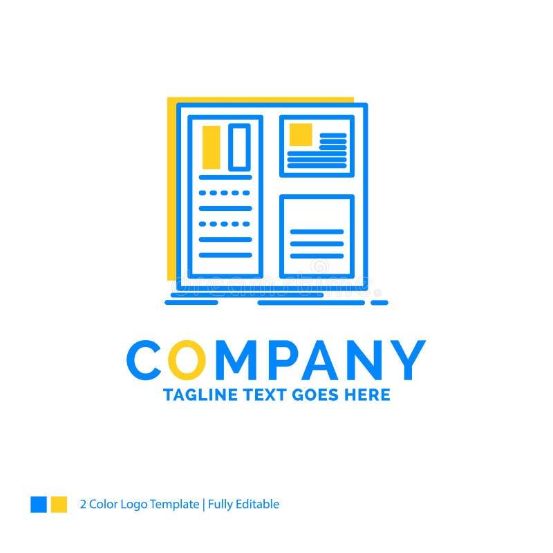 Progettazione, griglia, interfaccia, disposizione, te giallo blu di logo di affari di ui royalty illustrazione gratis