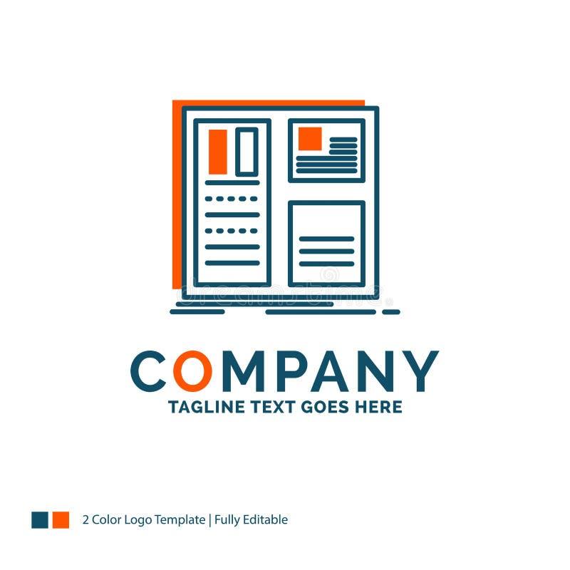 Progettazione, griglia, interfaccia, disposizione, ui Logo Design Azzurro ed arancio royalty illustrazione gratis