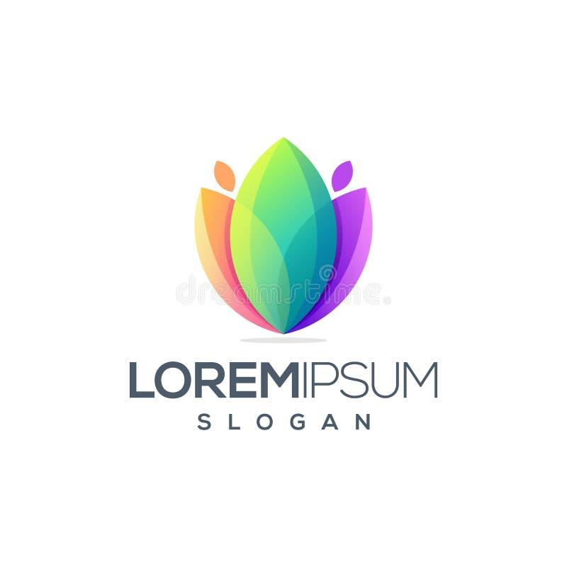 Progettazione impressionante di logo del fiore pronta per l'uso royalty illustrazione gratis