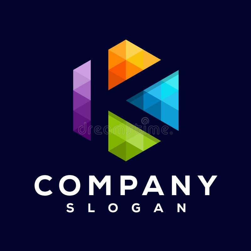 Progettazione impressionante di logo del pixel di K royalty illustrazione gratis
