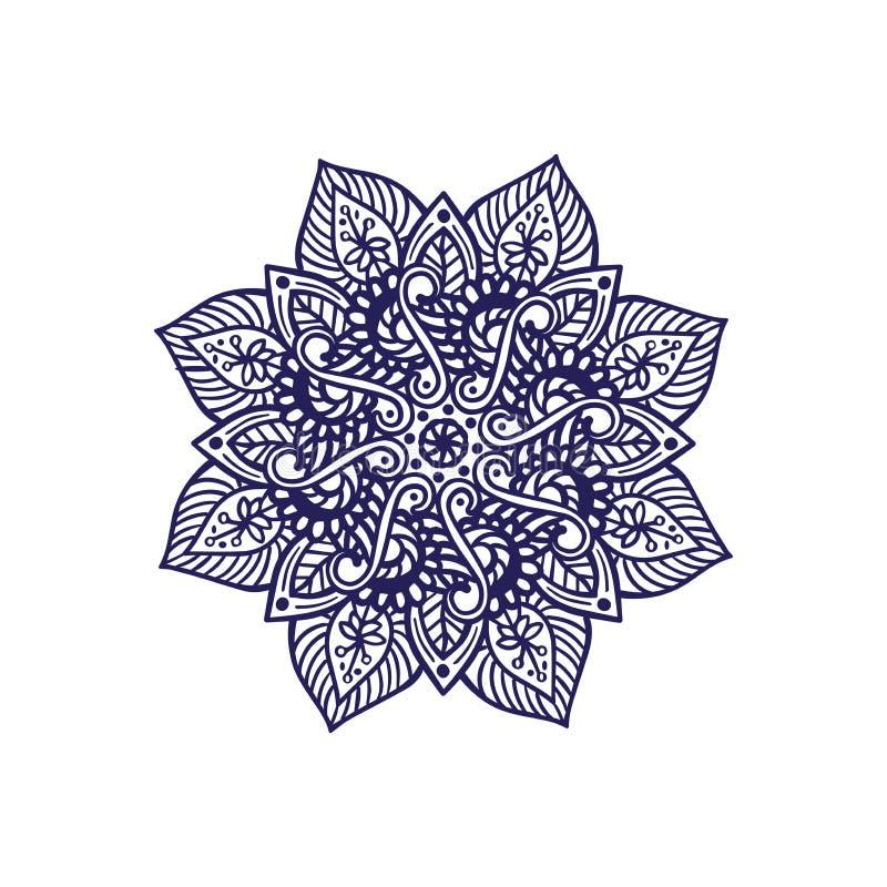 Progettazione indiana della mandala con gli elementi e le forme floreali illustrazione vettoriale