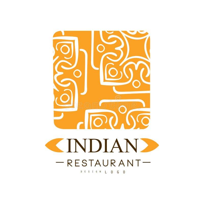 Progettazione indiana di logo del ristorante, illustrazione continentale tradizionale autentica di vettore dell'etichetta dell'al illustrazione di stock