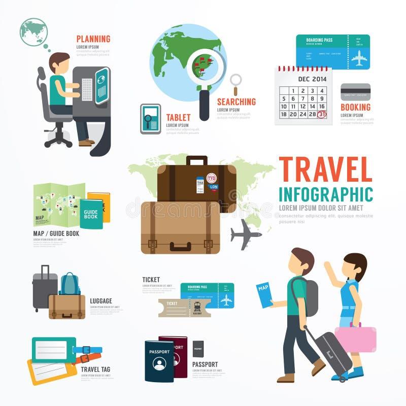 Progettazione Infographic del modello di affari di viaggio intorno al mondo illustrazione di stock