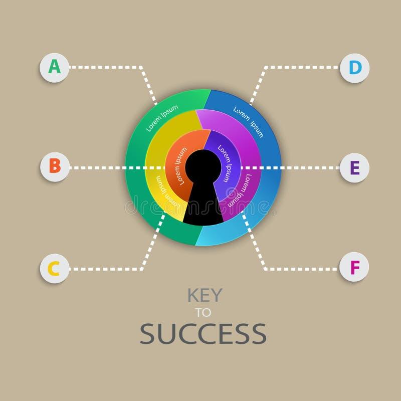 Progettazione infographic di affari per la chiave al concetto di successo illustrazione vettoriale