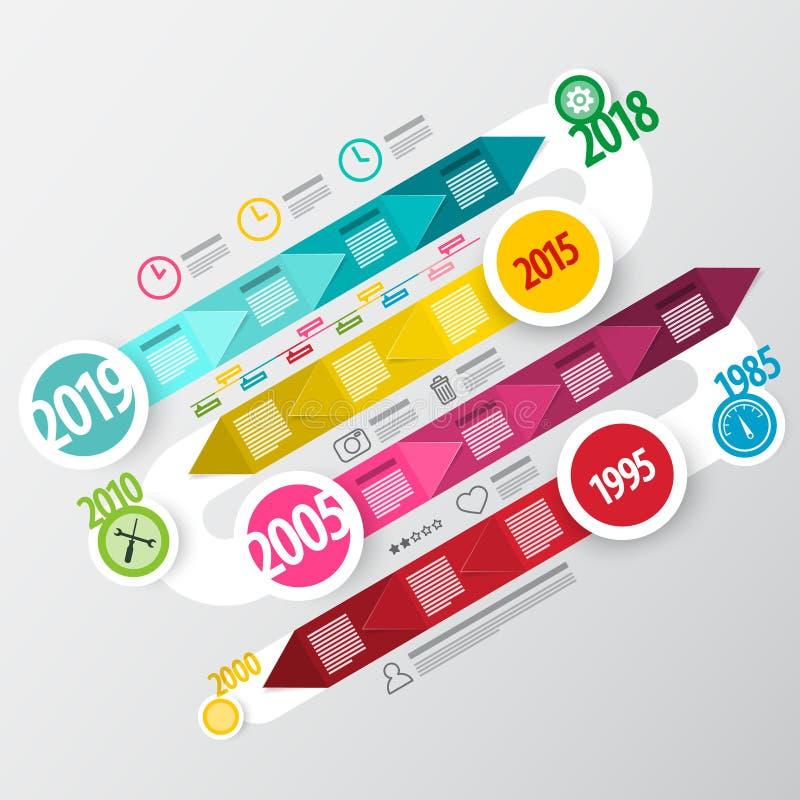 Progettazione infographic di vettore Cronologia variopinta di affari di Infographics royalty illustrazione gratis