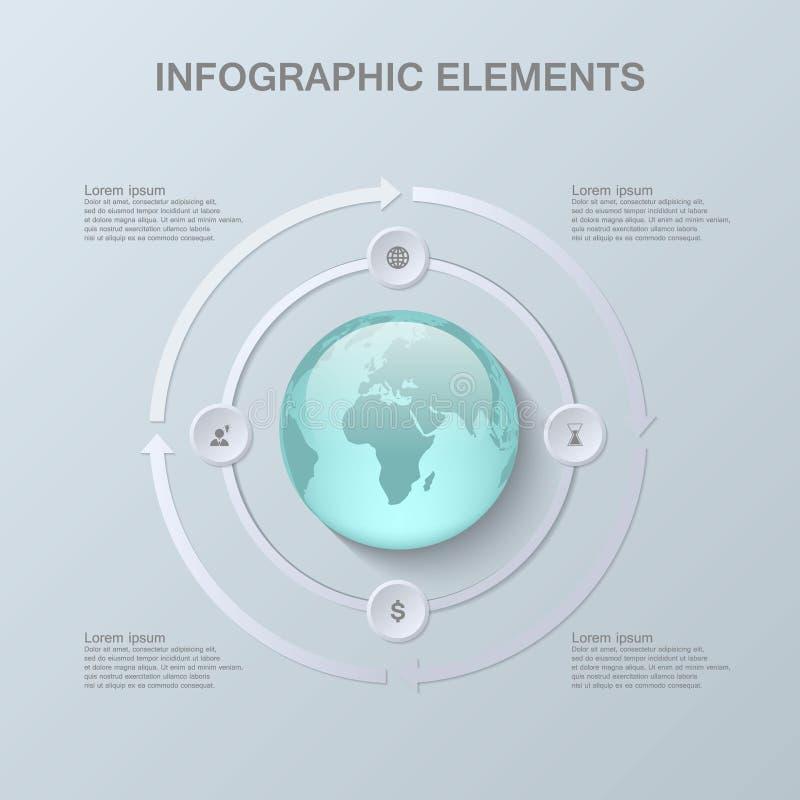 Progettazione infographic moderna con il globo 3D e la carta illustrazione vettoriale