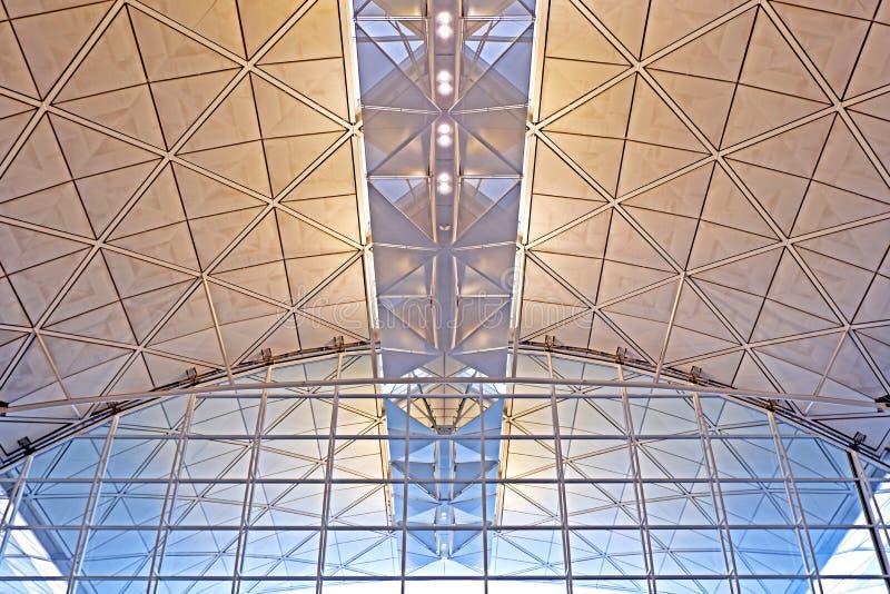 Progettazione interna di architettura dell'aeroporto internazionale di Hong Kong immagini stock libere da diritti