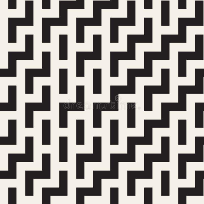 Progettazione irregolare di Maze Shapes Tiling Contemporary Graphic Reticolo in bianco e nero senza giunte di vettore illustrazione di stock