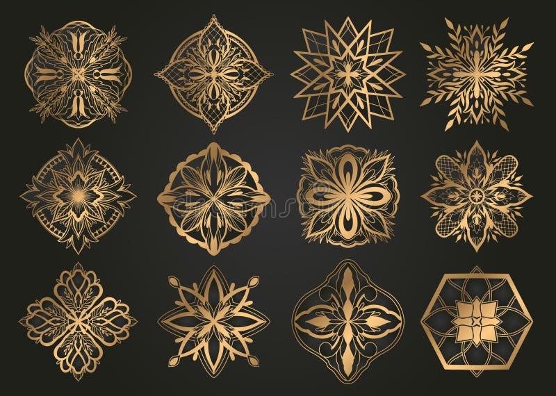 Progettazione islamica dell'oro dell'ornamento, motivo persiano Elementi rotondi islamici del modello del Ramadan Insieme geometr royalty illustrazione gratis