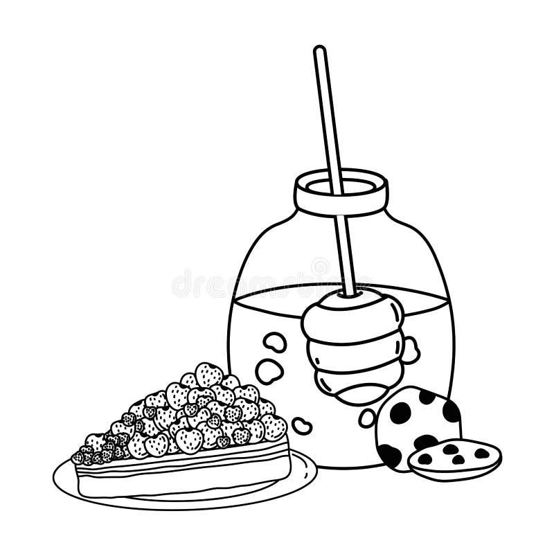 Progettazione isolata del barattolo e del dolce del miele royalty illustrazione gratis