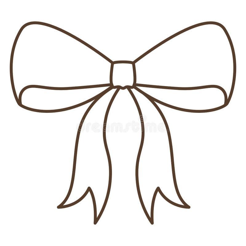 Progettazione isolata del nastro di cravatta a farfalla illustrazione di stock