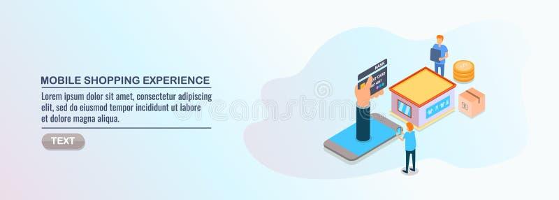 Progettazione isometrica, acquisto mobile, esperienza del cliente, commercio mobile, elementi dell'acquisto online illustrazione vettoriale