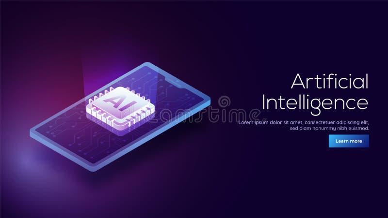 progettazione isometrica 3D di uno smartphone e dei raggi digitali emergenti franco illustrazione di stock