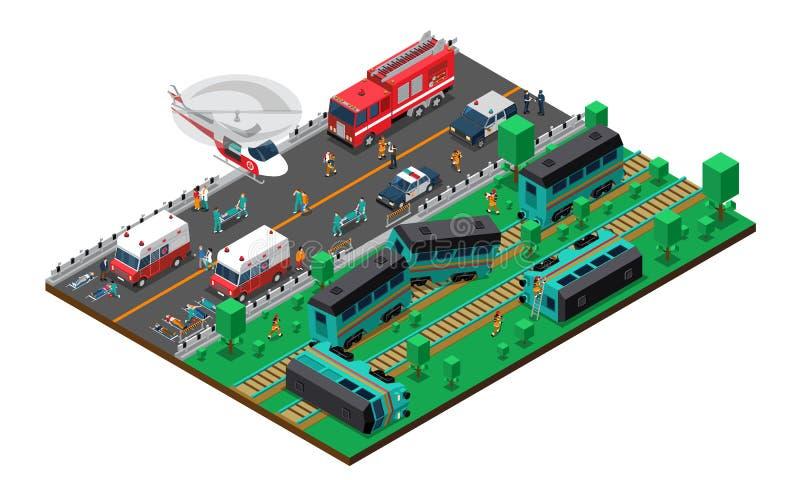 Progettazione isometrica del relitto del treno illustrazione vettoriale
